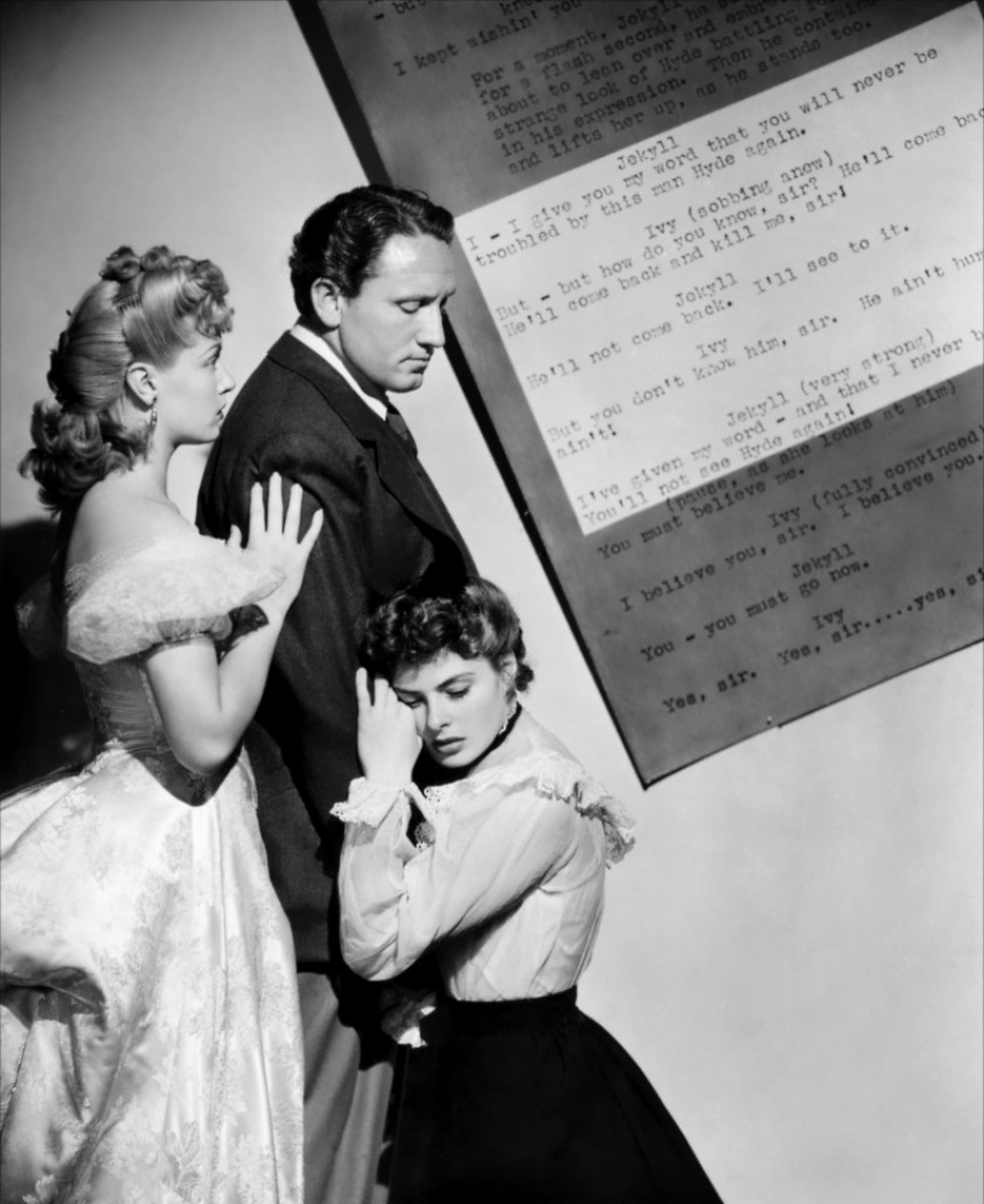 Spencer Tracy with Ingrid Bergman and Lana Turner