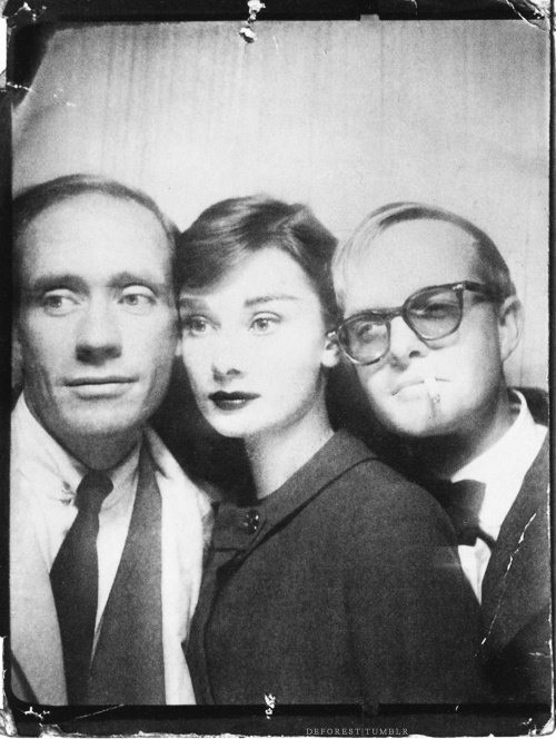 Mel Ferrer, his wife Audrey Hepburn  and Truman Capote