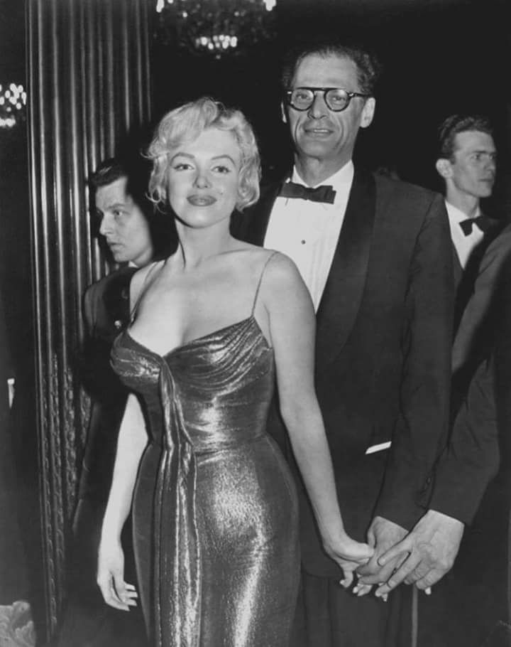 Marilyn Monroe photographed with husband Arthur Miller