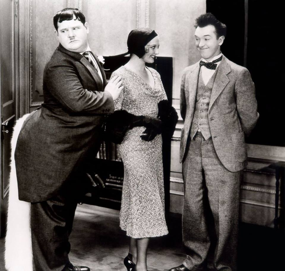 OLIVER HARDY, THELMA TODD & STAN LAUREL