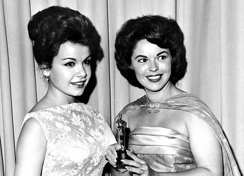 Annette Funicello and Shirley Temple at the 33rd Academy Awards in 1961.