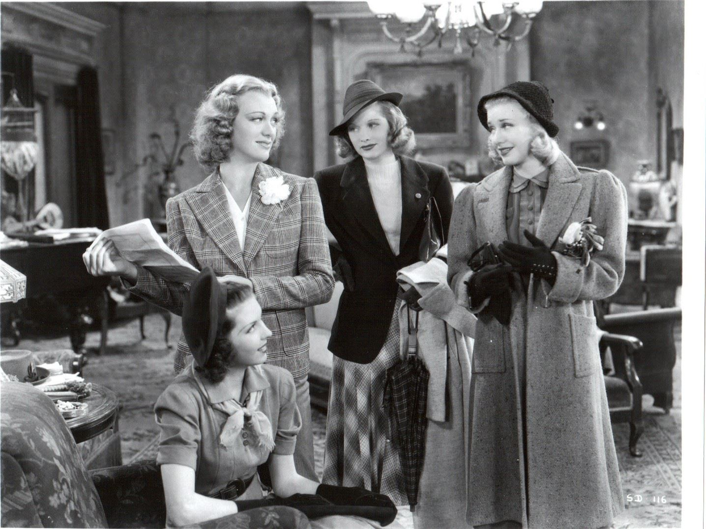 Ann Miller, birthday girl Eve Arden, Lucille Ball, and Ginger Rogers in Stage Door