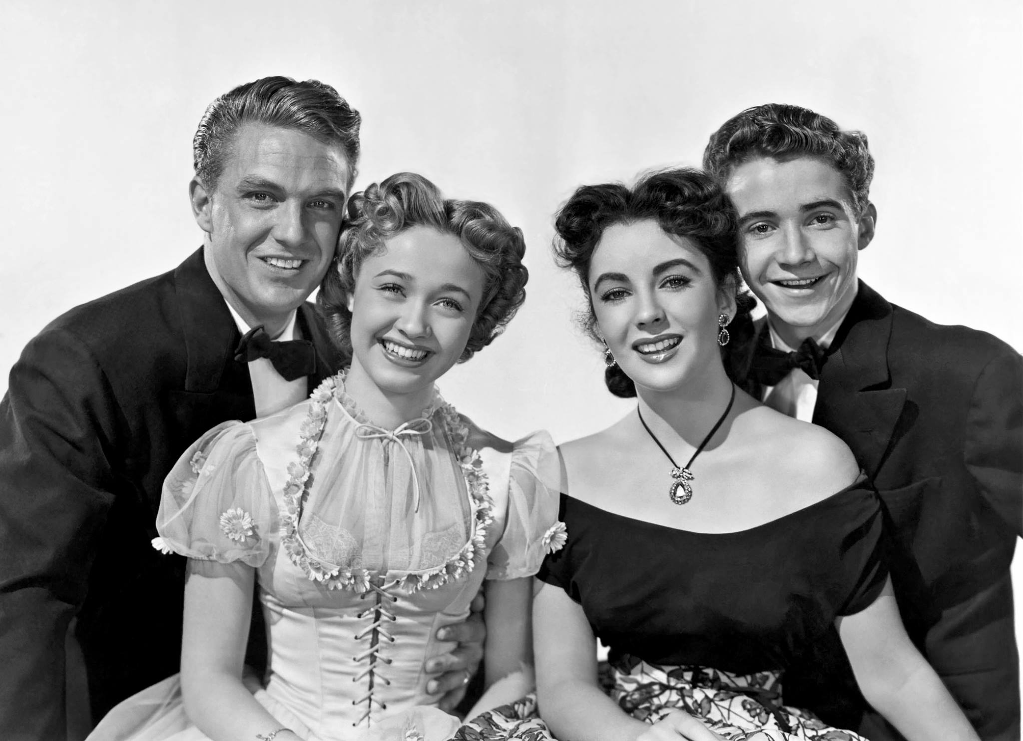 Robert Stack, Jane Powell, Elizabeth Taylor, and Scotty Beckett