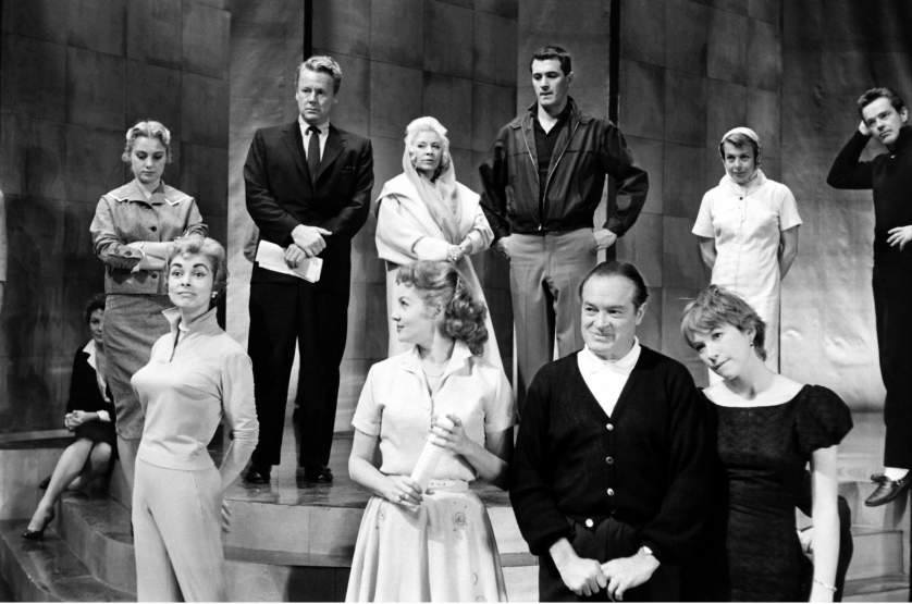 Shirley Jones, Van Johnson, Mae West, Rock Hudson, Marge and Gower Champion, Janet Leigh, Rhonda Fleming, Bob Hope, and Shirley MacLaine at a rehearsal a few days prior to 30th Annual Academy Awards