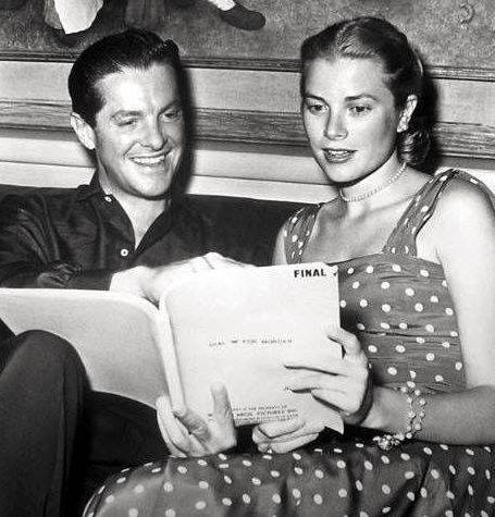 Robert Cummings & Grace Kelly read the script of the movie