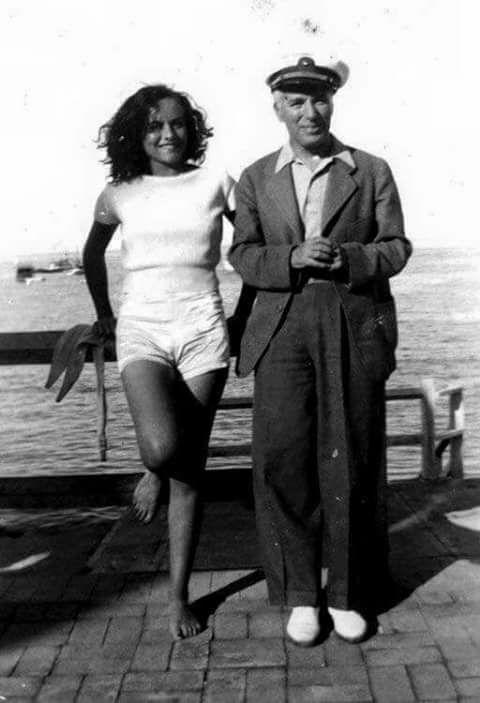 Paulette Goddard and her husband Charlie Chaplin