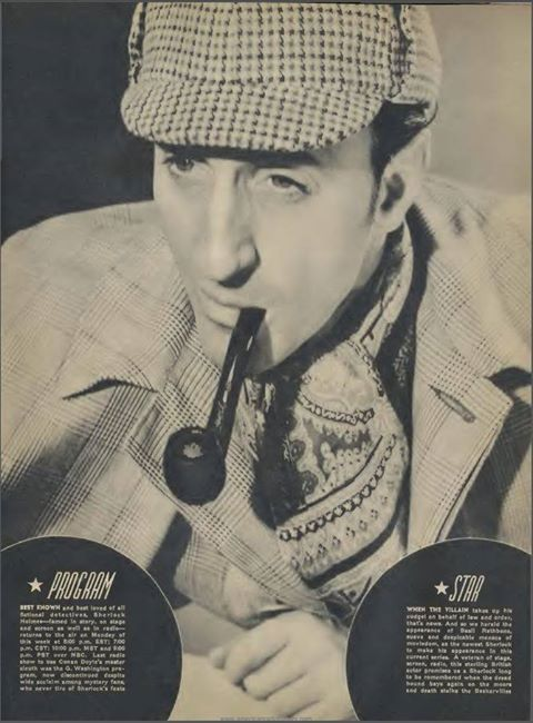 1939) Promoting the appearance of Basil Rathbone as Sherlock Holmes