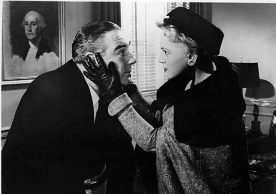 Paul Douglas and Judy Holliday in a scene from the film The Solid Gold Cadillac 1956
