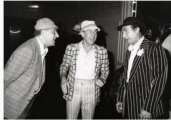 Jack Klugman, Jack Carter and Sid Caesar during Golden Key Foundation Burlesque '80 Show at Beverly Hilton Hotel in Beverly Hills, California
