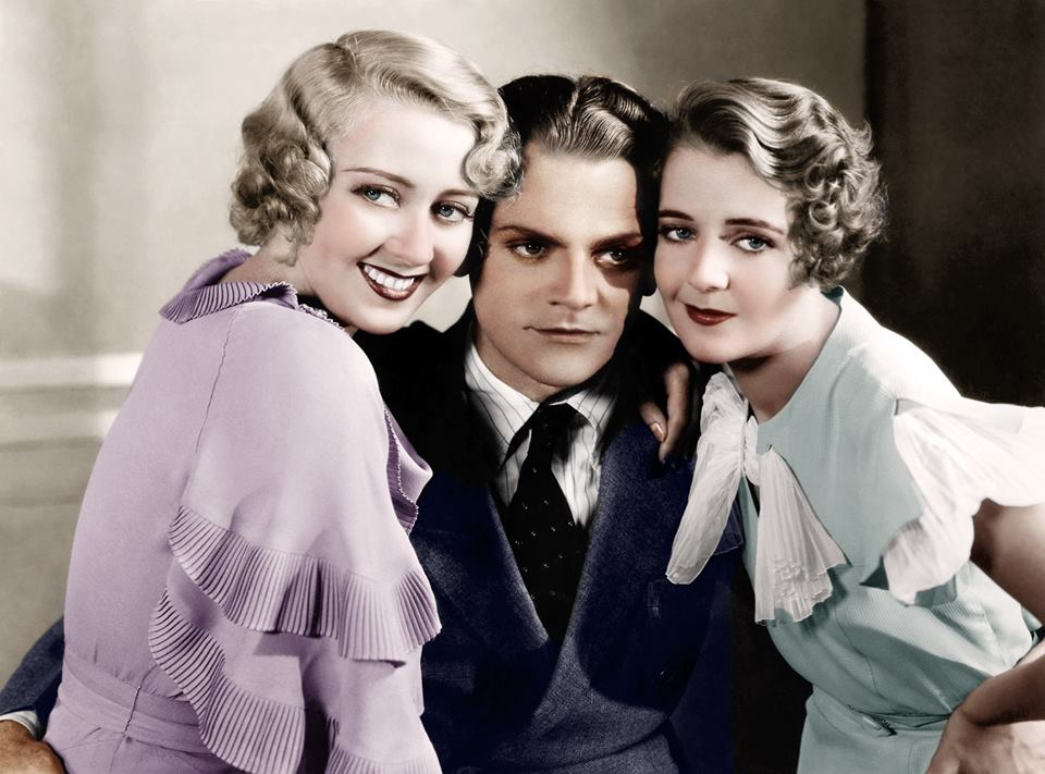 Joan Blondell, birthday boy James Cagney, and Ruby Keeler