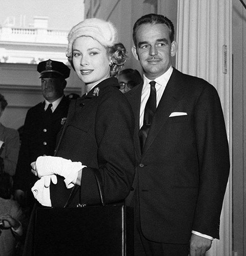 Princess Grace and Prince Rainier in U.S.A. at the