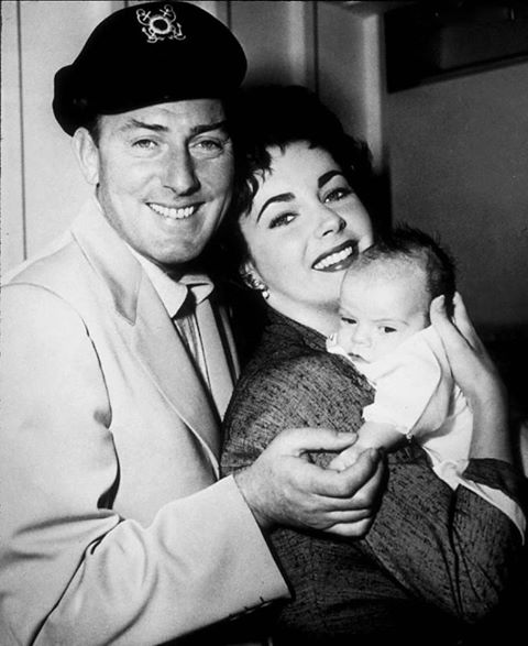 Michael Wilding with his second wife Elizabeth Taylor and their first child Michael jr