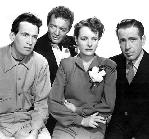 John Huston, Peter Lorre, Mary Astor and Humphrey Bogart in a publicity shot for the movie