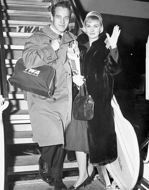 Paul Newman and his new bride Joanne Woodward