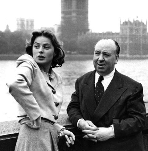Alfred Hitchcock with Ingrid Bergman.