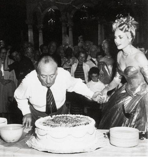 Alfred Hitchcock celebrates his Birthday with Grace Kelly