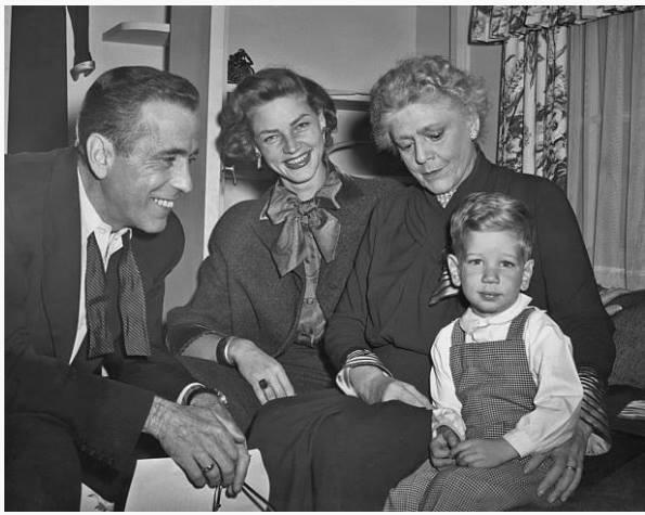Humphrey Bogart, Lauren Bacall, Ethel Barrymore and Stephen Bogart in 1951