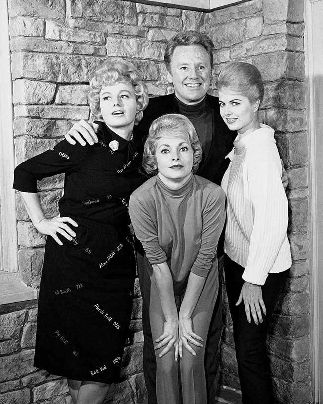 Shelly Winters, Janet Leigh, and Martha Hyer Pose with Van Johnson