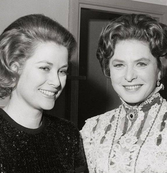 Princess Grace with Ingrid Bergman in Monaco,1971