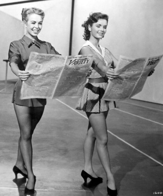 Birthday girl Marge Champion and Debbie Reynolds