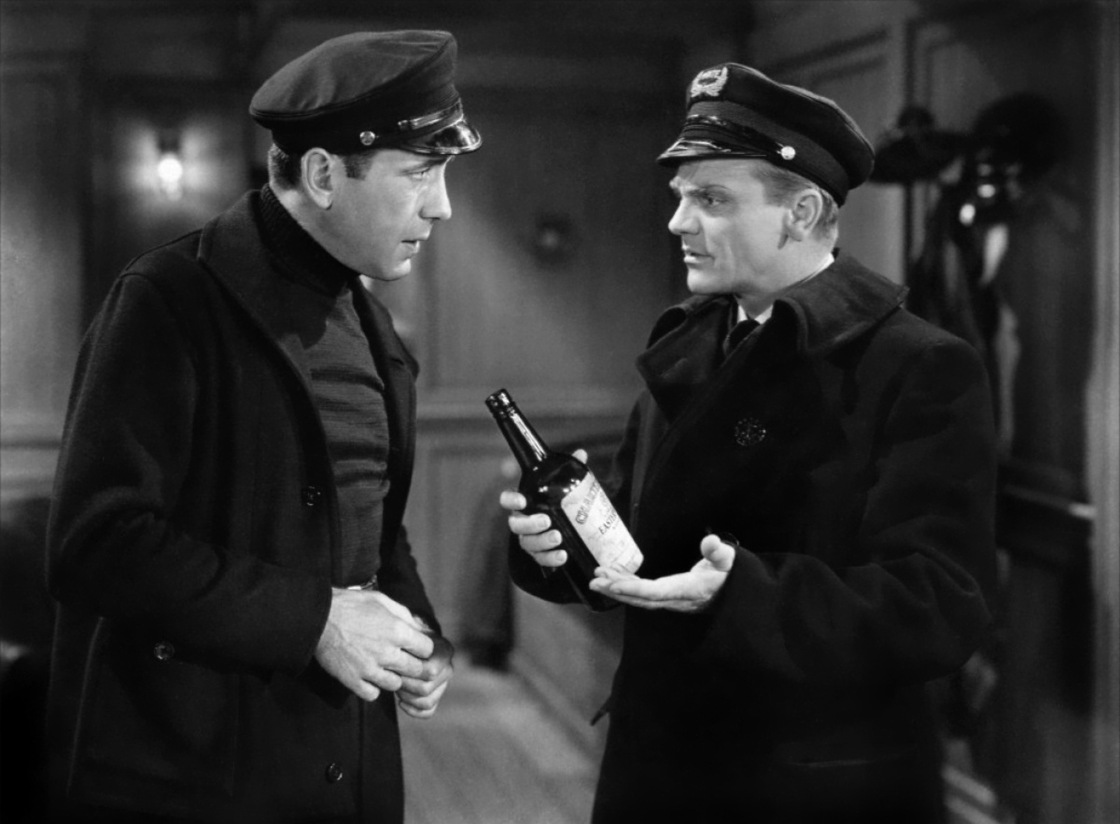 James Cagney with Humphrey Bogart (L).