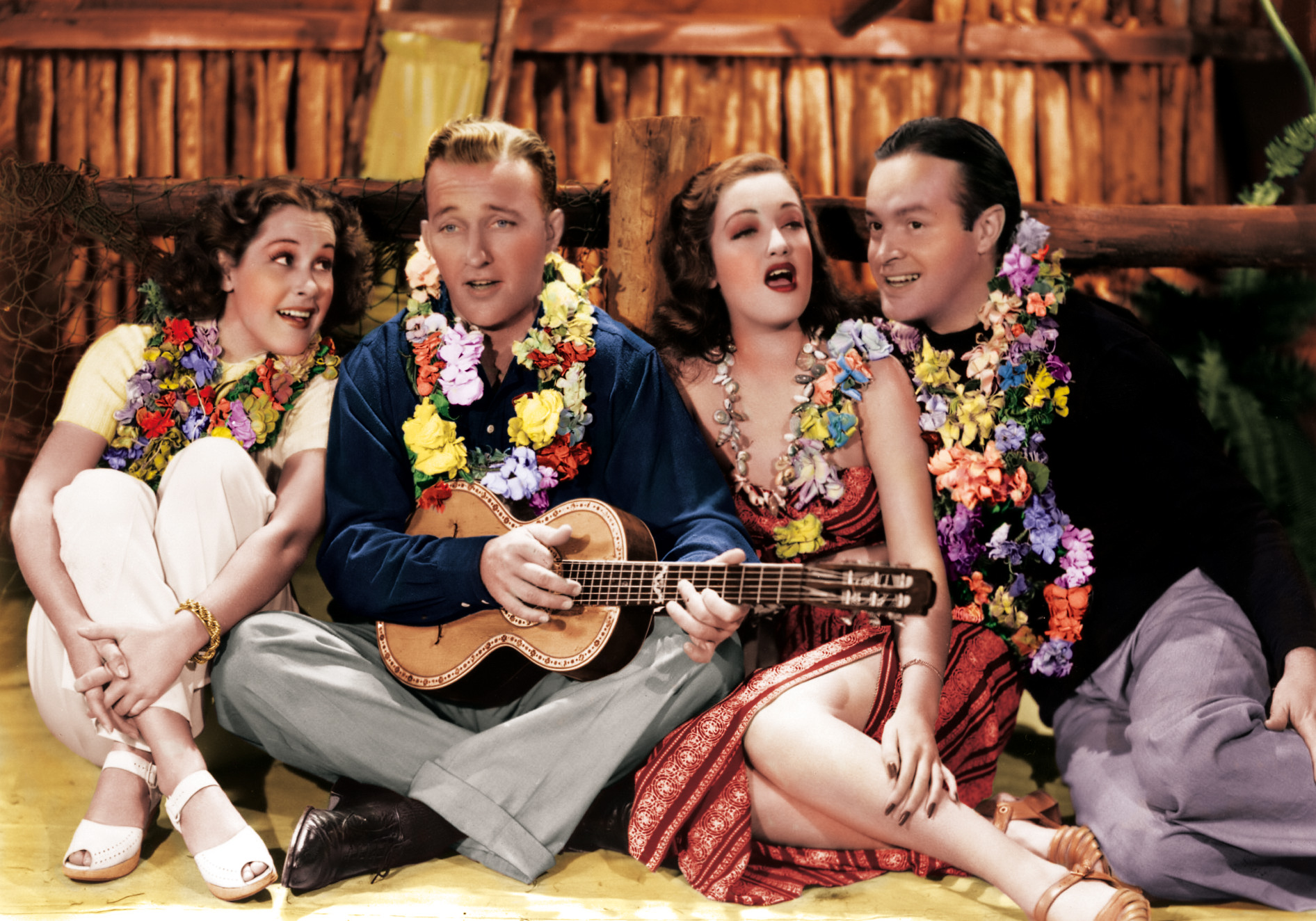 (L to R) Judith Barrett, Bing Crosby, Dorothy Lamour, Bob Hope