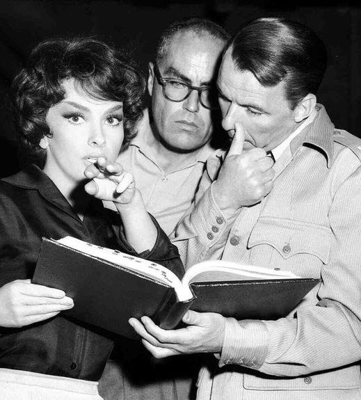 John Sturges with Gina Lollobrigida and Frank Sinatra