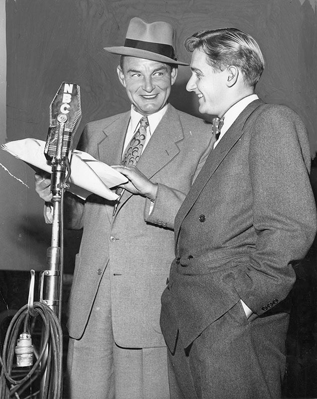 Alan Young (right) and Ed Gardner (wearing hat)