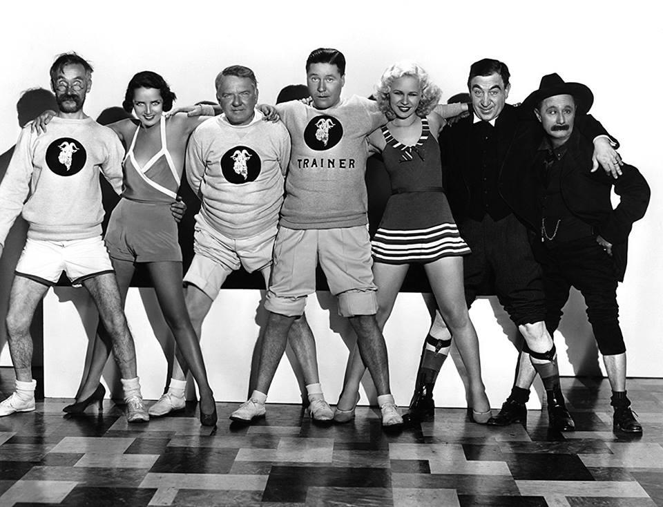 Andy Clyde, Susan Fleming, W.C. Fields, Jack Oakie, Lyda Roberti, Hugh Herbert, and Ben Turpin, Million Dollar Legs (1932)