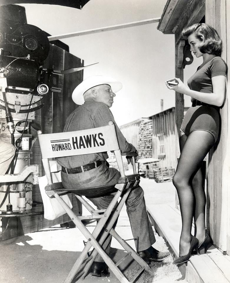 Angie Dickinson with director Howard Hawks on the set of Rio Bravo (1959)