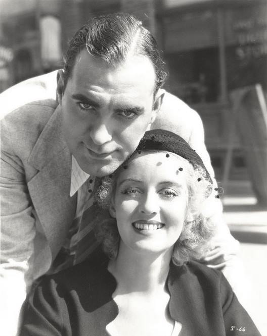 Pat O'Brien and soon-to-be-star Bette Davis on the set of Hell's House, 1932.