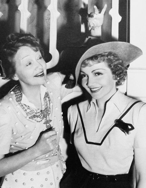 Claudette Colbert with Hedda Hopper,