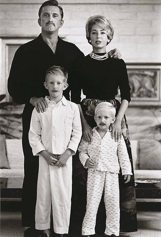 Kirk Douglas and his young family.