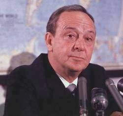 John Charles Daly at a news conference on May 29, 1967, where it was announced that he has been named to head the Voice of America.
