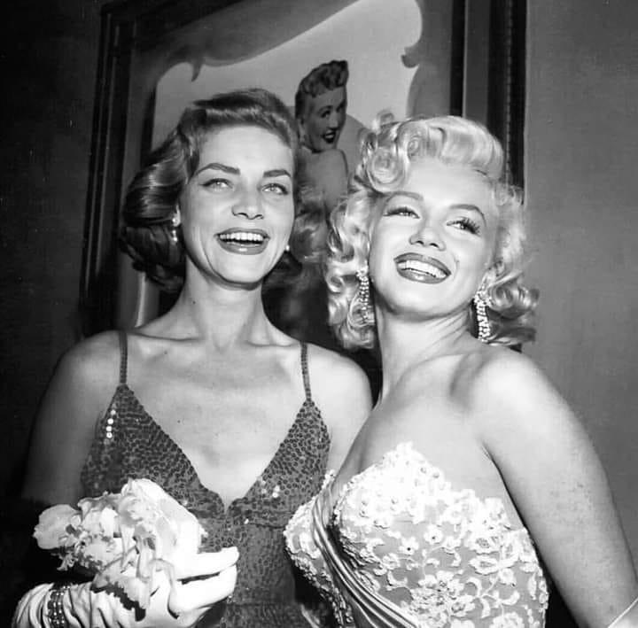 Lauren Bacall with Marilyn Monroe, 1953.