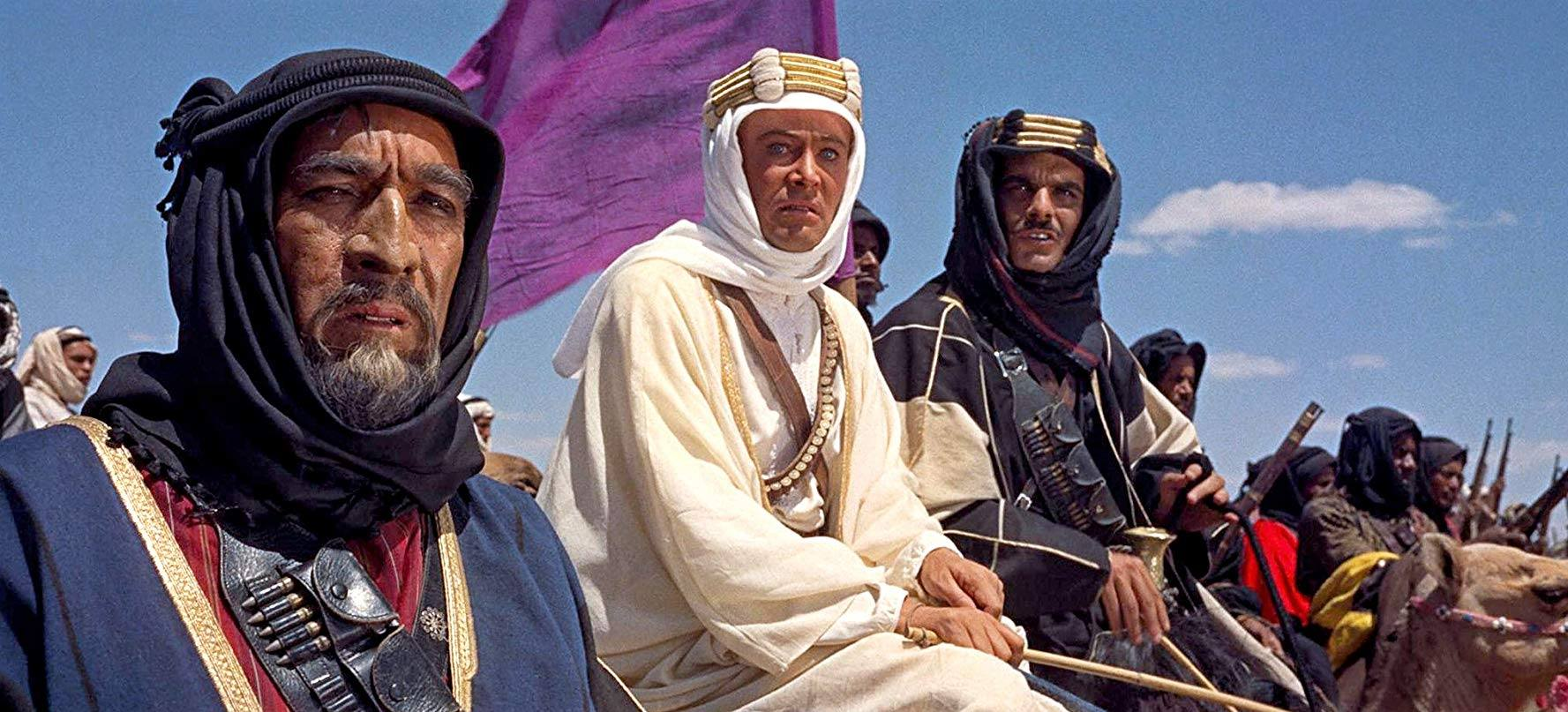 Anthony Quinn, Peter O'Toole, and Omar Sharif in Lawrence of Arabia (1962)