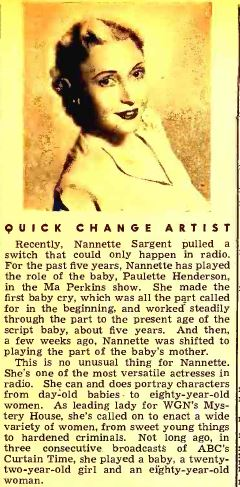 Here's a photo of Nanette, from the August 1946 issue of Radio Mirror.