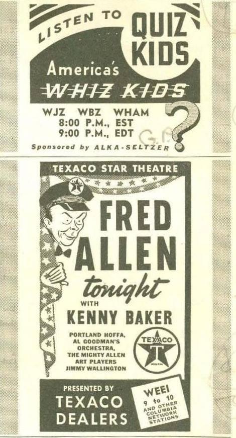 Ad Fred Allen show