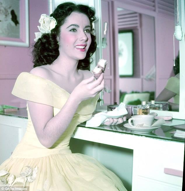 Elizabeth Taylor in her dressing room during the filming of
