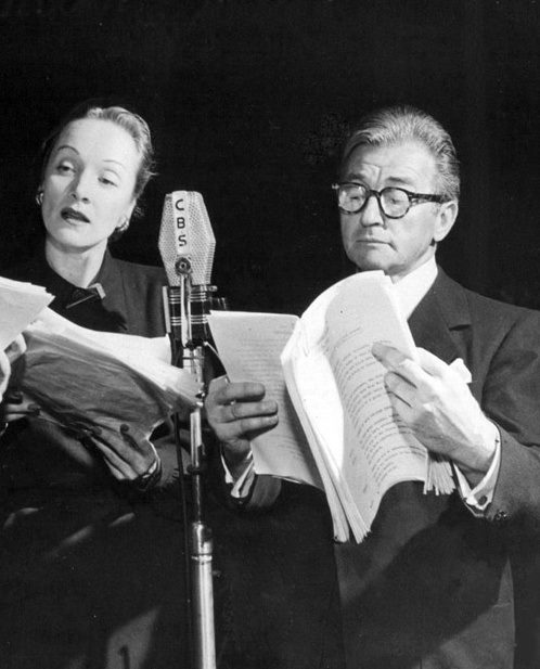 Marlene Dietrich and Claude Rains recording Madame Bovary for CBS Radio, 1948