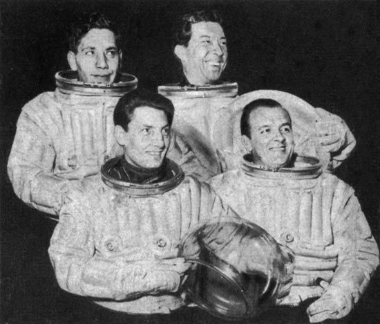 The four main cast members of ''Journey Into Space: The World in Peril''. Front left: Andrew Faulds. Front right: Don Sharp. Back left: Alfie Bass.Back right: Guy Kingsley Poynter