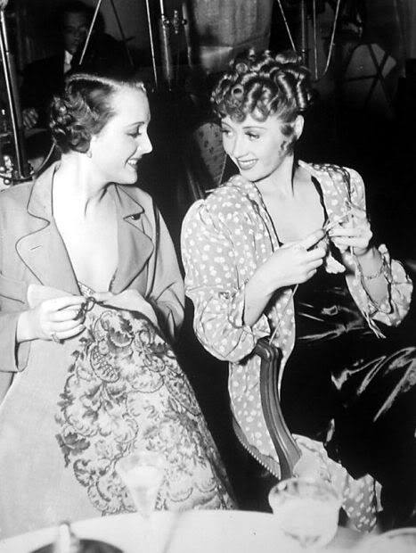 On the Set - Mary Astor & Joan Blondell knit and chat between takes of