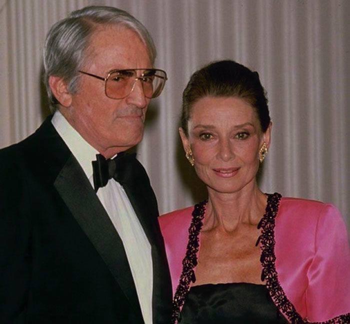 Gregory Peck and Audrey Hepburn in 1988