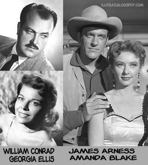 GUNSMOKE/ Gunsmoke's Radio and TV, Matt and Miss Kitty. RADIO: William Conrad and Georgia Ellis. TV : James Arness and Amanda Blake.~~~James