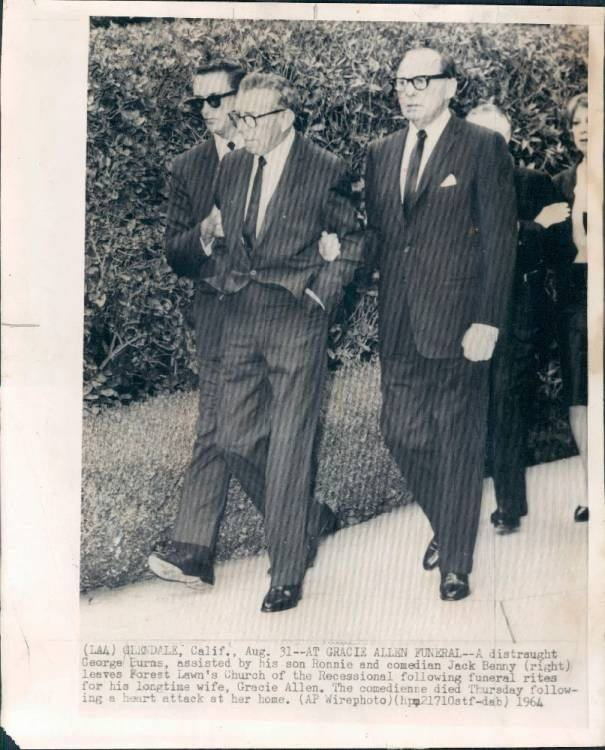 George Burns and friend Jack Benny at the funeral of Gracie Allen