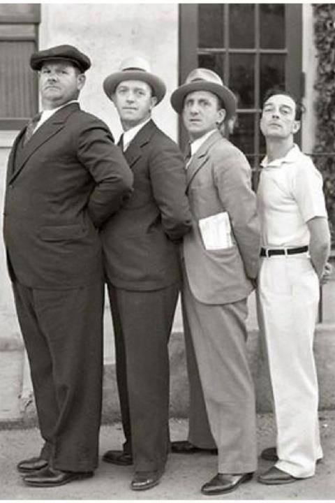 Oliver Hardy, Stan Laurel, Jimmy Durante, and Buster Keaton.