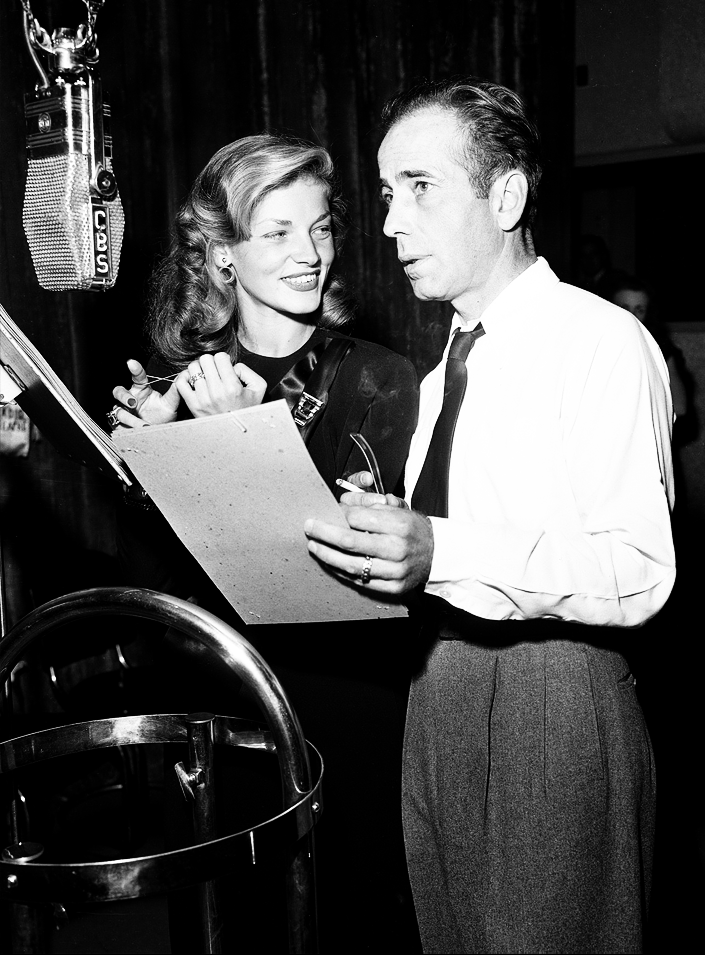Bogie & Bacall during a radio performance on the CBS Radio Network in the 1940s