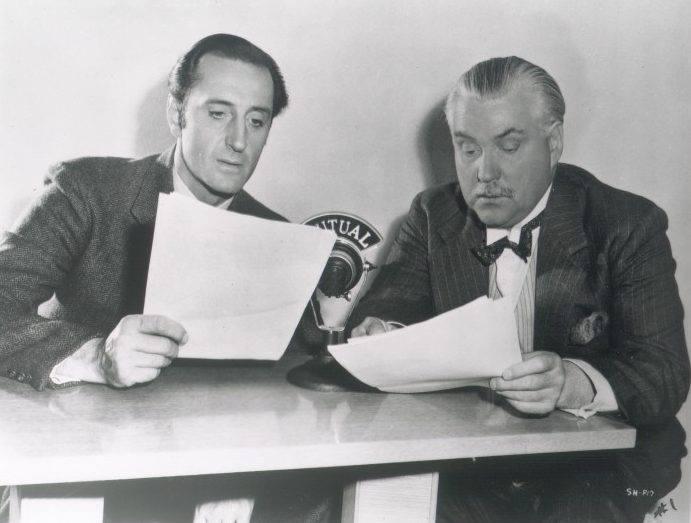 Sherlock Holmes And Watson Behind the Mutual Radio Mic