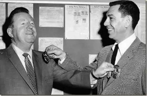 After Dragnet had been on the radio for a couple of years, Sgt. Joe Friday and Officer Frank Smith received honest-to-goodness detective's badges. Not sure if Sgt. Ben Romero got his posthumously.  Incidentally, under the current LAPD rank structure, all these officers would have the rank of Detective.  Stay focused on Old Time Radio.