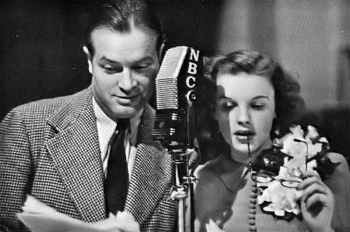 Bob Hope and Judy Garland performing in